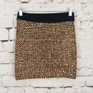 Grievercute Sparkly Gold Mini Skirt M